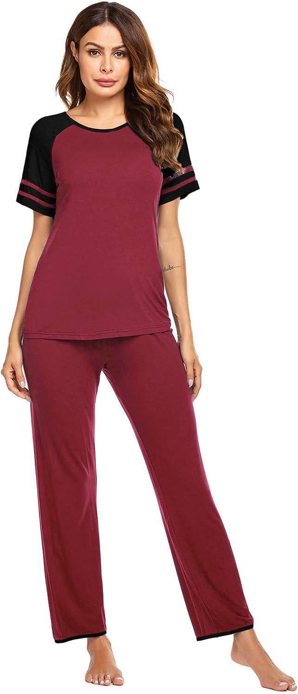 Ekouaer Women's Pajamas Set O-Neck Short Sleeve Tops with Pants Soft Sleepwear Pjs Sets