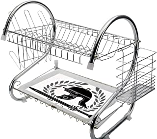 Stainless Steel 2-Tier Dish Drainer Rack Toga Party Kitchen Drying Drip Tray Cutlery Holder Roman Helmet with Sword and Olive Branches Ancient Mediterranean Empire Icons Decorative,Black White,Storage