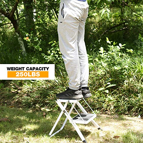 CAMPMAX 2 Step Stool Folding Step Ladder for Adults, Lightweight Sturdy Small Ladders for Kitchen Household, Supports 250lbs Capacity, White