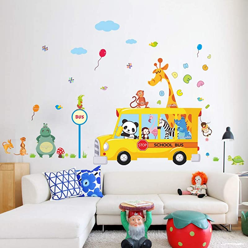 Leguliya Panda Giraffe Monkey Animal School Bus Car Home Decal Wall Sticker For Kids Room Child Baby Kindergarten Funny Birthday Gift