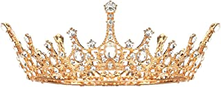 Makone Queen Crown for Womens Gold Tiara with Clear Rhinestone for Halloween Birthday Girls Prom Halloween Bridal Party