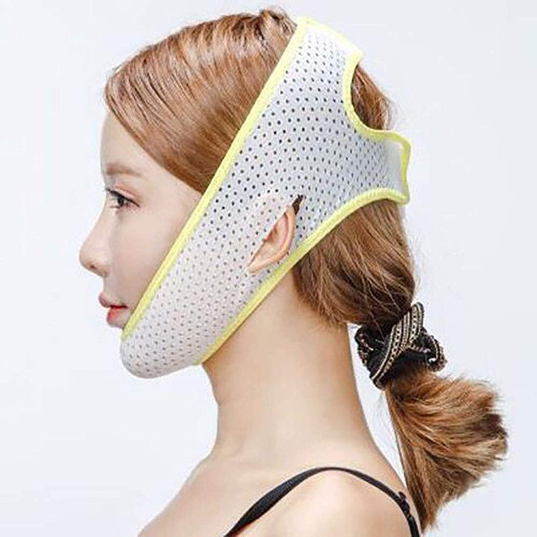 十代子羊プランテーションVフェイス包帯マスク、睡眠薄い顔アーティファクトフェイスリフトベルトライン彫刻回復包帯物理的な持ち上がる二重あごツール,Yellow