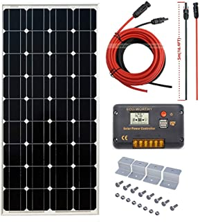 ECO-WORTHY 100W 12V Off Grid Mono Solar System: 100W Solar Panel + 20A Solar Controller & 16ft Cable for RV Boat Caravan Garden