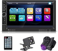 Qiilu 7 pulgadas Reproductor MP5 de coche Pantalla Táctil HD Bluetooth Radio FM AUX USB con Control remoto y Cámara de visión trasera