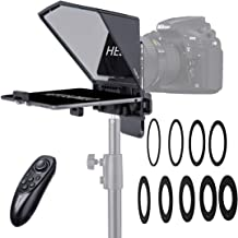 Desview T2 Teleprompter Kit with Remote Control, 8 Sizes Lens Adapter Ring, for Smartphone/Tablet/DSLR Camera Video Recording Interview Presentation