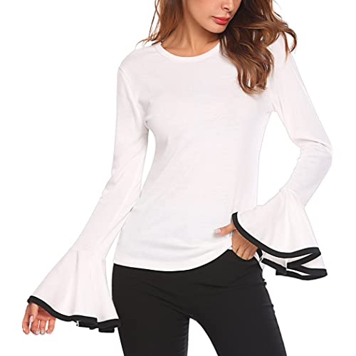 b3b618833787bd Women's Long Bell Sleeve Blouse Loose Trumpet T-Shirt Casual Solid Flare  Tops