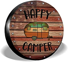Deaowangluo Spare Wheel Tire Cover Jeep RV SUV Spare Tire Cover Camping Happy Camper Trailer Truck Travel Trailer Universal Fits 15 Inch