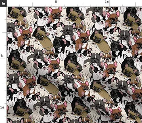 Spoonflower Fabric - Frenchies Dog Print French Bulldog Printed on Petal Signature Cotton Fabric Fat Quarter - Sewing Quilting Apparel Crafts Decor