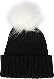 LILYFUR Beanie for Women Girls Knitting Winter Pom Pom Beanie Hats Faux Fur Pom Pom Bobble Beanie Hat