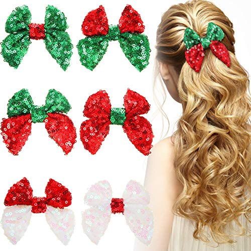 6 Pieces Christmas Sequins Hair Clips Handmade Christmas Stretchy Ribbon Headband with Bow Hairpins Alligator Bows Pin for Xmas Baby Girls Kids Children