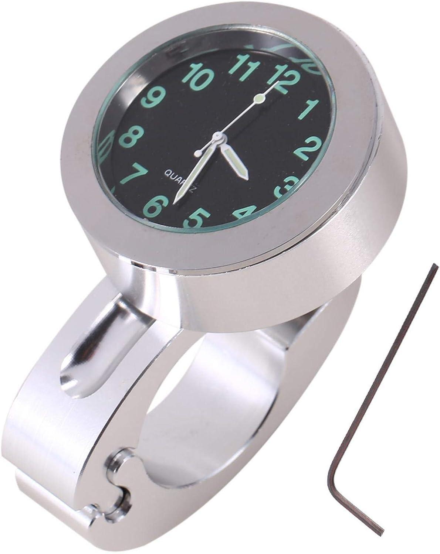 shoplic Reloj de la motocicleta-1pc Reloj Plateado de la Motocicleta del Manillar Impermeable del Reloj del Montaje del Brillo Reloj Universal