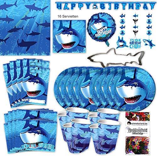 Hai Haifisch Party Set XL 63-teilig 8 Gäste Haiparty Kindergeburtstag Partypaket