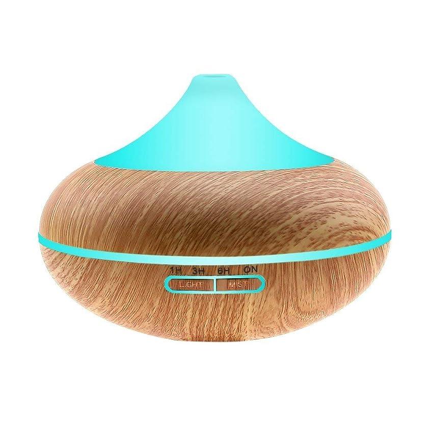 一回ポインタ疾患iBazal アロマディフューザー 加湿器 卓上加湿器 アロマ加湿器 USB 超音波式 空気清浄機 乾燥対策 空気浄化 ストレス解消 ミスト木目調 大容量450 7色変換LED搭載 時間設定
