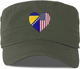 Bosnian Flag Half America Flag Half Heart Shaped Flat Top Baseball Cap Truck Driver Hat