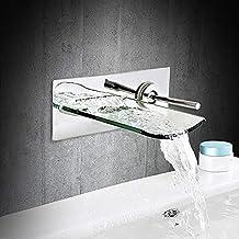 Inchant cascata lavabo rubinetto bocca rotonda aperta in vetro lavabo in ottone con finitura cromata bagno lavandino rubinetto