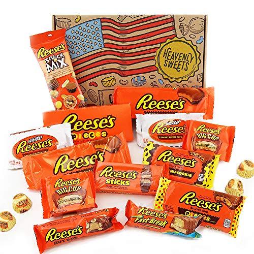 Coffret cadeau Reeses | Chocolat beurre de cacahuètes premium | Inclut mini barres beurre de cachuètes et noix, Reeses Big Cup, Pieces | Boîte cadeau vintage de 17 pièces