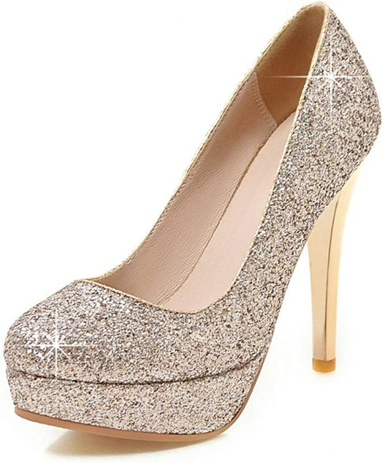 Round Toe Platform shoes Woman Sexy Sequined Upper High Heels Party Wedding Pumps