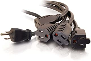C2G/ Cables To Go 4 Outlet Power Cord Splitter - 16 AWG Power Squid Extends 6ft From The Wall - 1 In 4 Out Plug Is Ideal F...