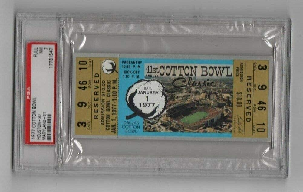 1977 Cotton Bowl Full Ticket Houston Pop Sale item Gr Ranking TOP16 1 Highest v Maryland