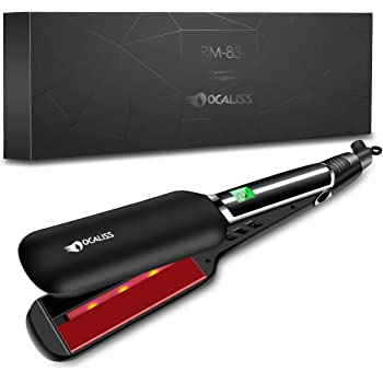 OCALISS PRO 2 Inch Flat Iron Infrared Hair Straightener with Ceramic Ionic Glider, Straightens&Curls with Adjustable Temp, 30'S Heat Up to 230℉ with LCD Display, Dual Voltage, Heat Resistant Glove