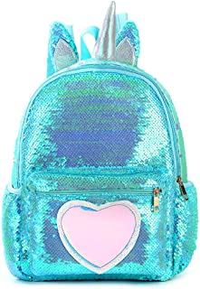 Bling Sequins Backpack for Girls Kids Critter School Bag Travel PU Shining Glitter Sparkly Cute Back Pack with Padded Back and Adjustable Straps Casual Daypack Magic Reversible Sequin