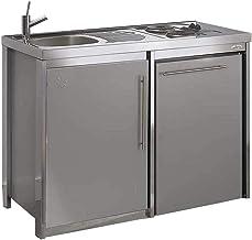MODERNA Kitchenette Metalline éléments Bas 120x60 Gris Aluminium