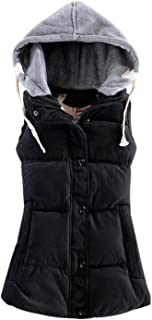 Yeokou Women's Slim Quilted Cotton Padded Puffer Hooded Down Vest Waistcoat