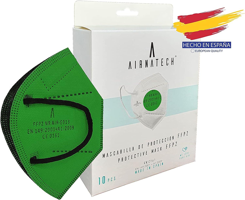 A AIRNATECH Mascarillas FFP2 Verde pack de 10 unidades. Marcado CE0161 Homologadas - Normativa EN149: 2001+A1: 2009 - 5 Capas de 95% Filtración - Mascarilla ffp2 protección respiratoria