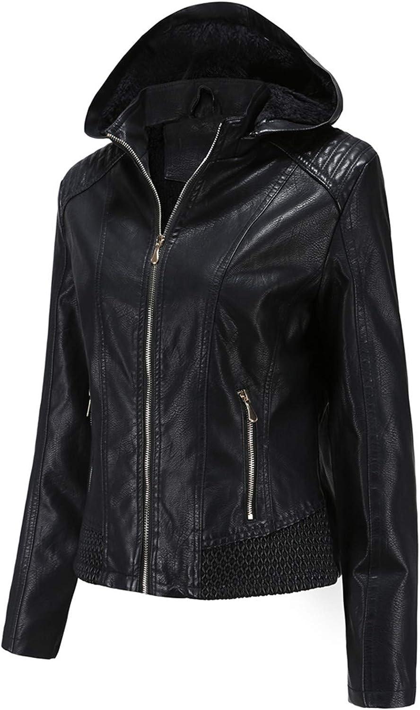 Women's Fashion Faux Leather Jacket Coat Sweatshirt for Women Zip up Hoodie Short Solid Long Sleeve Windproof Outwear