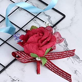 Decorative Exquisite Beautiful Boutonniere, 4.7x3.2in Groom Corsage, for Ceremony Wedding(Scarlet)