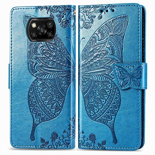 Bravoday Handyhülle für Xiaomi Poco X3 NFC Hülle, Stoßfest PU Leder Tasche Flip Hülle Schutzhülle für Xiaomi Poco X3 NFC, mit Kartenfäch und Kickstand, Blau