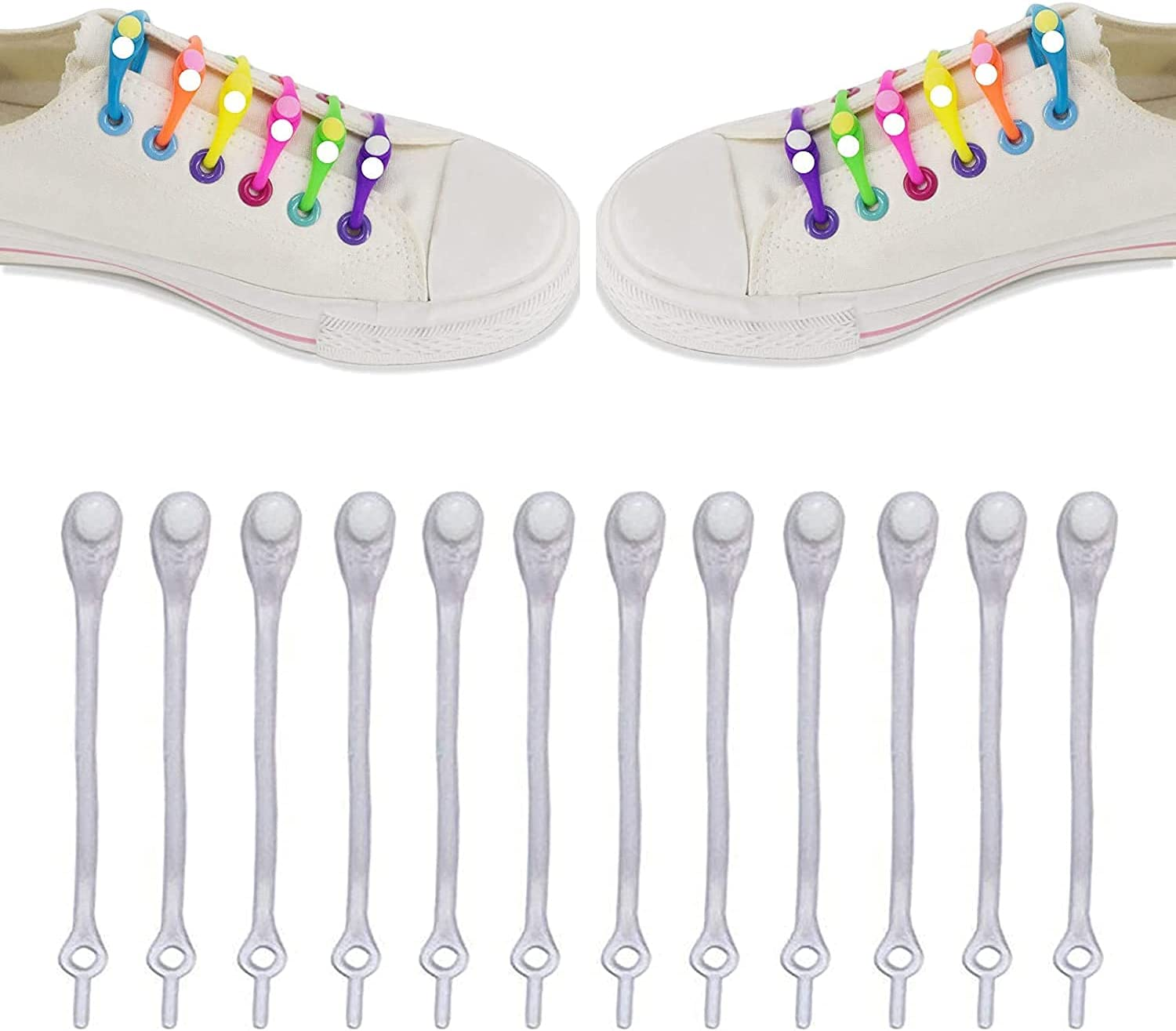 AESO Special price Max 43% OFF for a limited time 12pcs Lazy Elastic Shoelaces Round Shoe Tie-Free Silicone