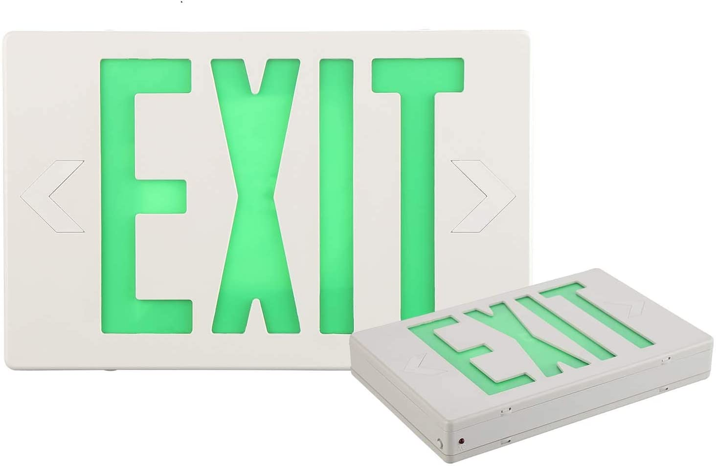 EXITLUX Today's OFFicial shop only 2 Pack Green Led Emergency Lights with Exit Back Battery