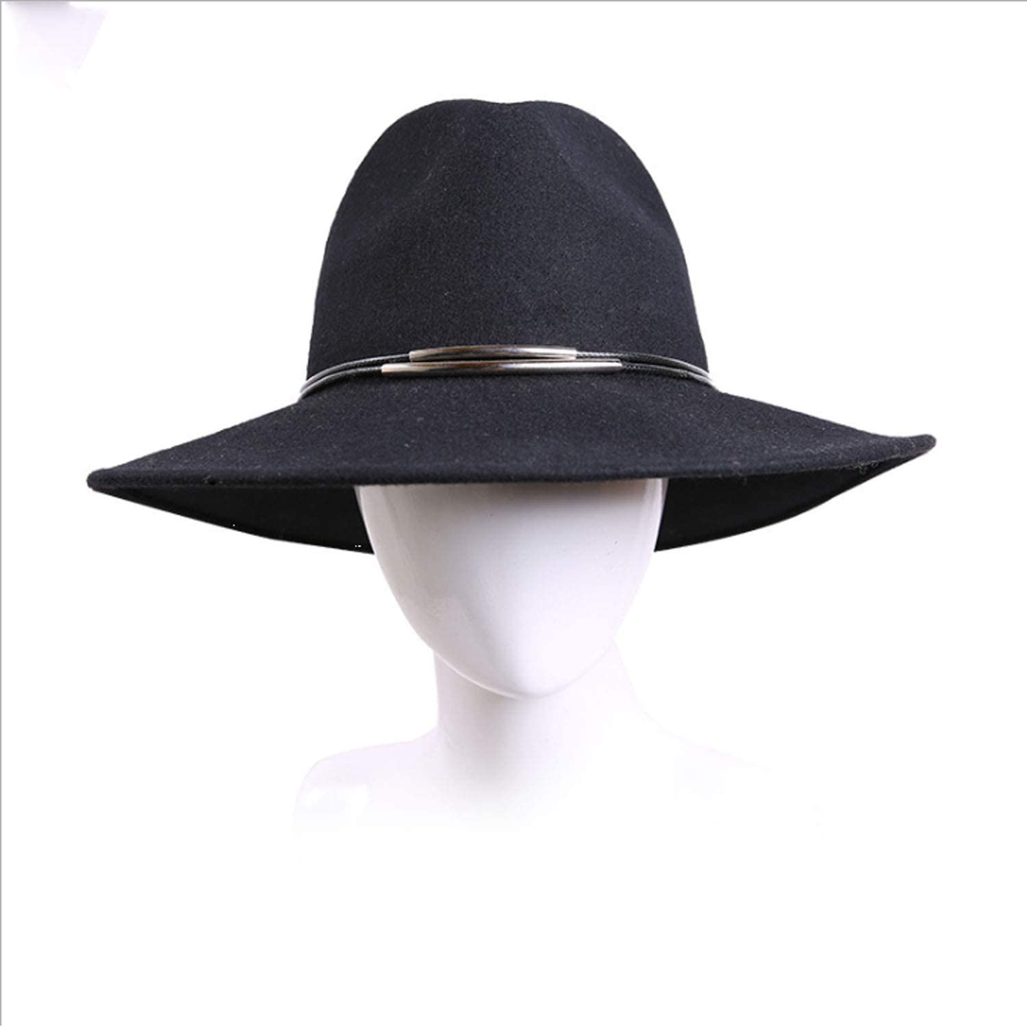 Hat Women Big Edge Wool Fashion Jazz Cap top hat Fall Winter (color   Black, Size   M)