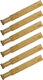 7Penn Bamboo Drawer Divider 17-22 Inch - Spring Loaded Bamboo Drawer Dividers Kitchen Drawer Organizer, 6 Pack