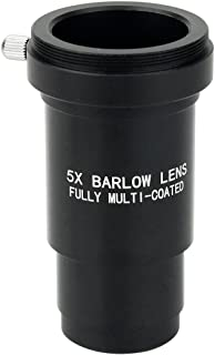 SVBONY Barlow Lens 5x Blackened Metal with T adapter M42x0.75 Thread for 1.25 inches Telescope Eyepiece for Superior Sharpness and Color Correction