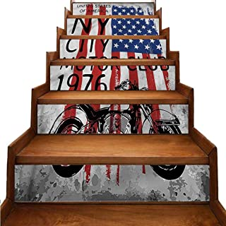 JiuYIBB American Flag Stair Mural Stickers NYC Motorcycle Club Wallpaper Decor