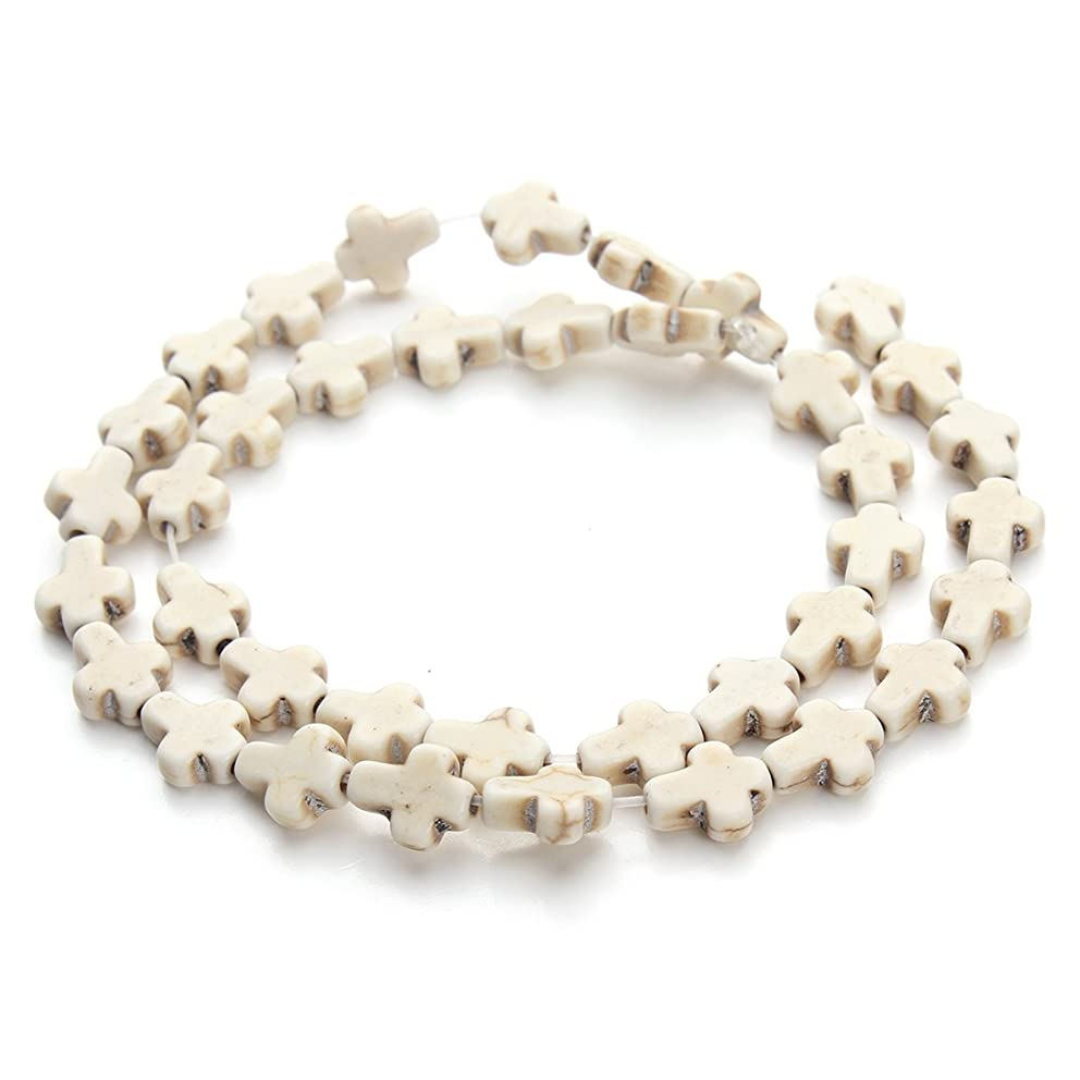Linsoir Beads Small White Magnesite Turquoise Cross Beads Semi Precious Stone Beads Approx.36pcs/Strand 0.8CMX1CM