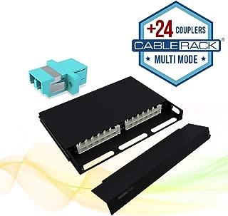 CableRack 1U Telescoping Rackmount Fiber Enclosure 24-Core Black with 24 Multimode LC Couplers