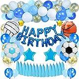 SPECOOL Decoraciones de cumpleaños Niños,Dorado Feliz cumpleaños Conjunto con Globo de esférica de Aluminio Globo Látex Confeti Azul Blanco Fiesta en Globo Decoración para niños
