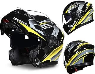 MTTKTTBD Flip Up Motorcycle Helmet,DOT Approved Modular Full Face Motorbike Locomotive Helmet Mofa Crash Moped Bobber Chopper Cruiser Racing Cap with Anti-Fog Double Visor