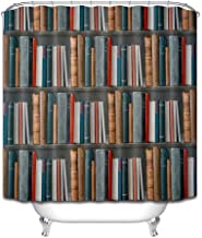 ZXYL Magic Vintage Books On Bookcase Extra Long Waterproof Shower Curtain With Mat Set Bathroom Polyester Fabric For Bathtub Decor,180x200cm-72x80inch
