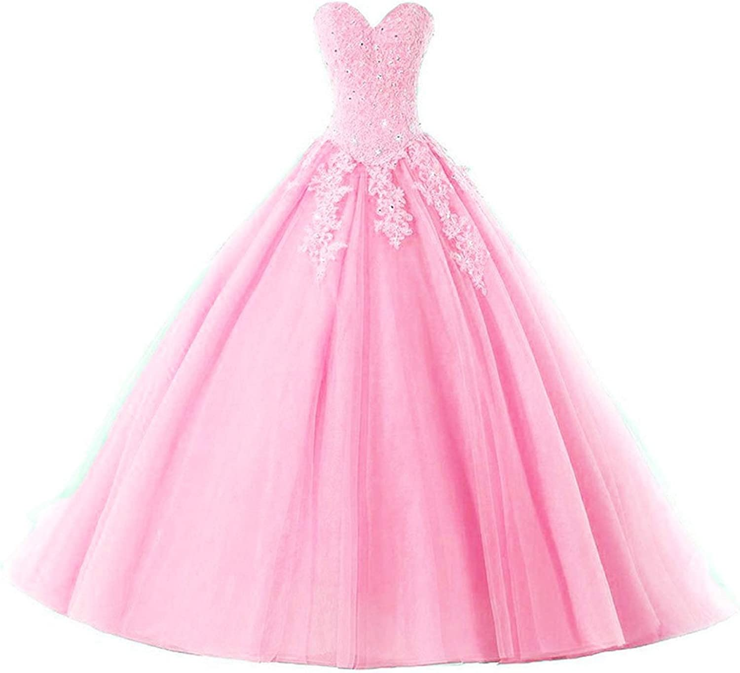 20KyleBird Women's Strapless Beaded Sequins Prom Dresses Sweet 16 Sweetheart Lace Appliques Tulle Quinceanera Ball Gowns