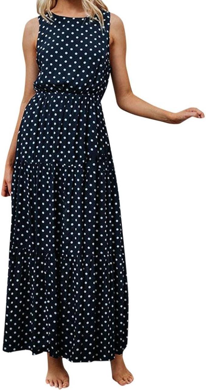 Ansenesna Kleid Damen Sommer Lang Elegant Schick Punkte Maxi Sommerkleider Vintage Viscose Abendkleid Fur Party Hochzeit Gast Amazon De Bekleidung