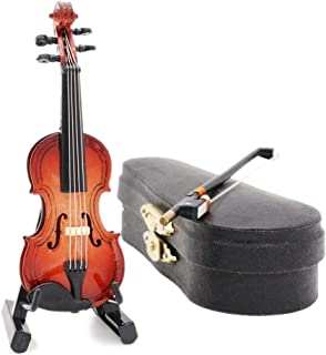 Odoria 1:12 Violin with Stand Bow and Case Wooden Musical Instrument Miniaure Dollhouse