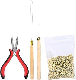 Filfeel Kit de extensión de cabello, peluca, pinzas, gancho, con 500 microanillas, accesorios
