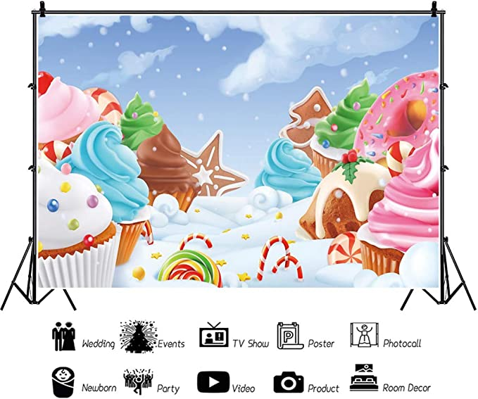 DORCEV 10x6.5ft Candy Land Backdrop for Kids Birthday Party Baby Shower Christmas Party Background Cartoon Candy House Ice-Cream Chocolate Sweet Pink Cloud Kids Party Banner Kids Photo Studio Props