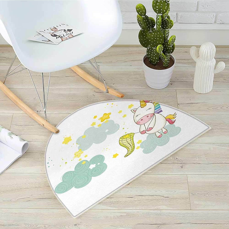 Unicorn Semicircle Doormat Baby Mystic Unicorn Girl Sitting on Fluffy Clouds and Hunting Nursery Image Halfmoon doormats H 31.5  xD 47.2  Green Yellow