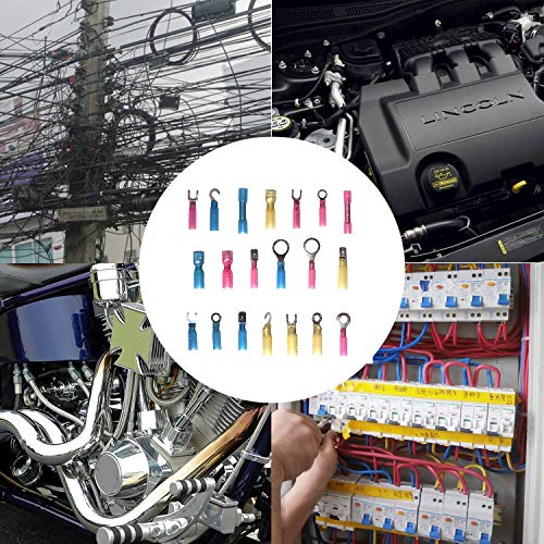 270 PCS Heat Shrink Wire Connectors,Insulated Electrical Crimp Heat Shrink Wire Connectors,Electrical Terminals Kit,Marine Automotive Copper Butt/Ring/Hook/Fork/Spade Disconnect Terminals Kits