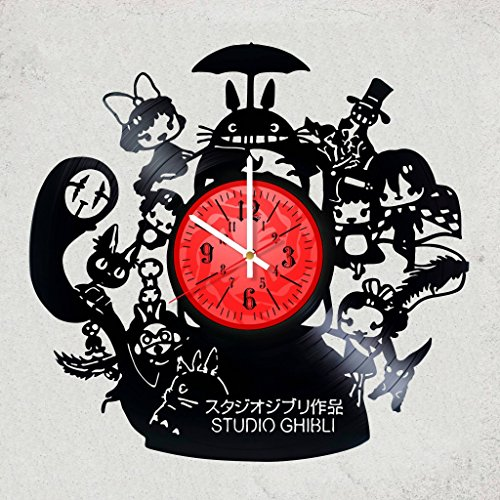 Home decor USA GHIBLI STUDIO VINYL RECORD WALL CLOCK - Best gift for your sister or brother - Japanese animation film Ghibli studio - merchandise gifts for children bedroom decor anime fans